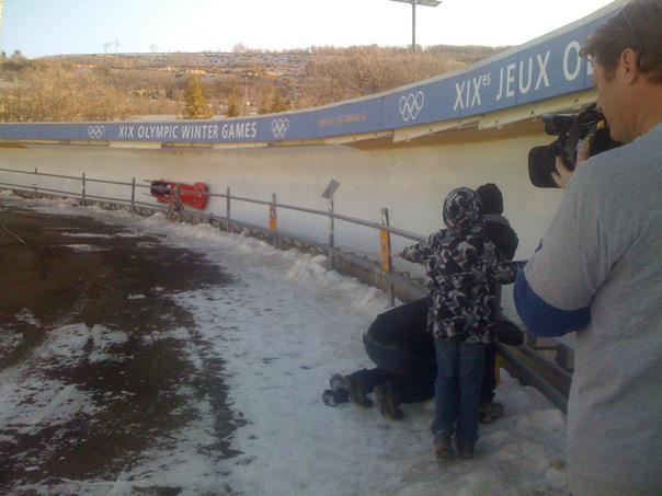 Watching paralympic team bobsledding, Olympic Park, Park City, Utah