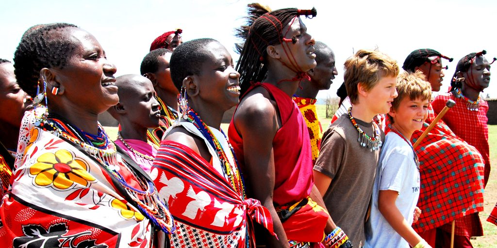Nathan and Seamus with Masaai people in Kenya
