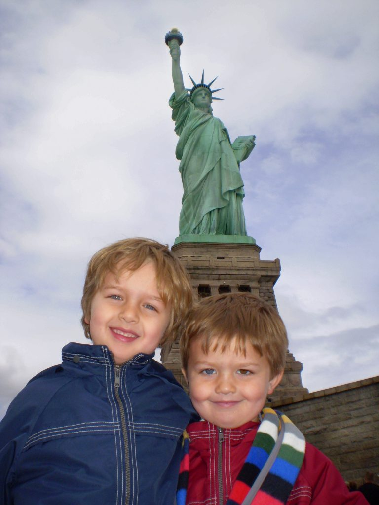 Nathan and Seamus at the Statue of Liberty in New York