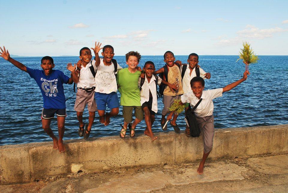 Seamus with local Fijian kids, Levuka, Fiji