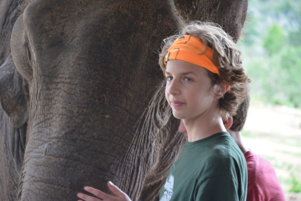 Nathan and Seamus with Elephant at Elephant's World Sanctuary in Thailand