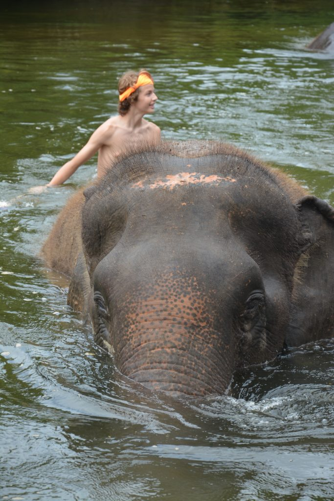 Nathan in the river during elephant bath time, Elephant's World, Thailand